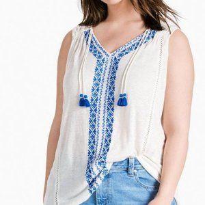 Lucky Brand Embroidered Center Boho Sleeveless Top